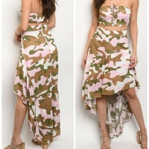 🆕PINK CAMOUFLAGE TOP & SKIRT SET